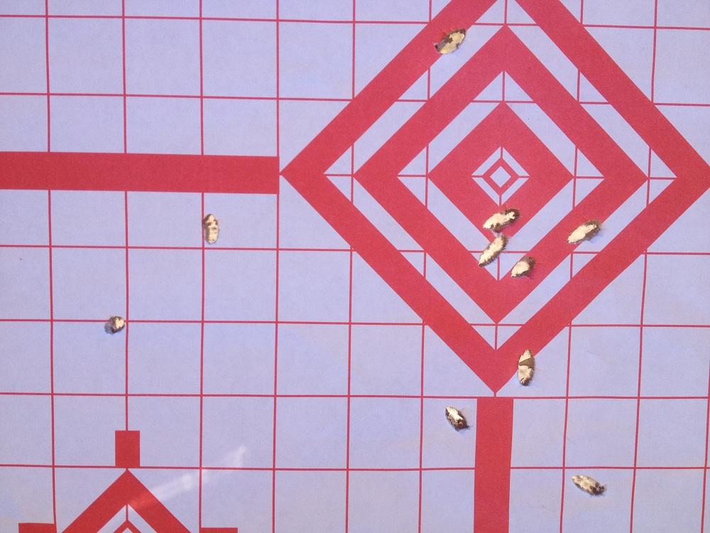 A target showing keyholing of ammunition.
